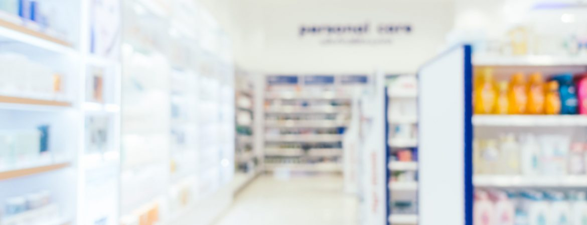 Abstract blur and defocused pharmacy and drug store interior for background