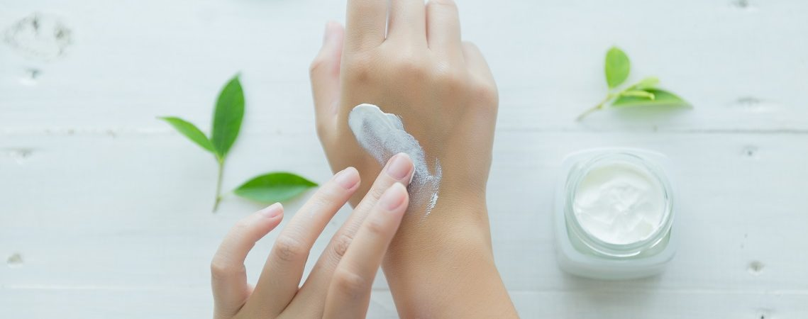 Skincare. Woman taking care of her dry complexion.